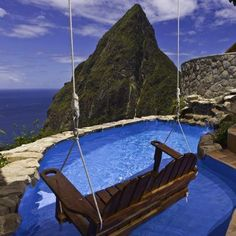 BALCONIES with BREATHTAKING VIEW from the swing!  The Ladera Hotel in Saint Lucia