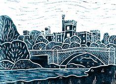 'Hanging Gardens, Patterned Walls' Original handmade print of Lismore Castle, Co. Waterford