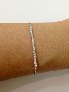 1/2 Carat Diamond Bracelet - 14K 7 inch White Gold Tennis