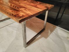 Old wood and steel coffee table