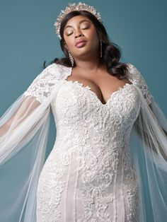 An elegant lace plus size sheath wedding dress for the romantic bride. Designed for you by Maggie Sottero, find it in a bridal store today! Maggie Sottero Wedding Dresses, Wedding Dresses Plus Size, Colored Wedding Dresses, Plus Size Wedding, Dream Wedding Dresses, Bridal Dresses, Bridesmaid Dresses, Lace Wedding, Bridal Gown