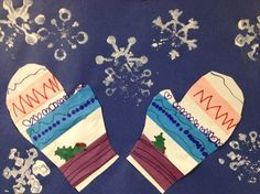 Matching Mittens - kindergarten project using sticky tape, markers to create matching patterns, and snowflake stamps