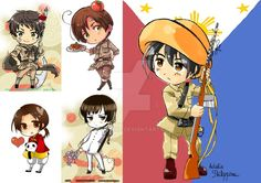 Hetalia philippines fan art and relation by mildemme on deviantart Hetalia Philippines, Disney Fan Art, Chibi, Anime Art, Fans, Axis Powers, Pinoy, Countries, Kawaii