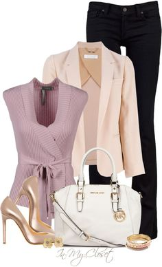 Business Outfit HOSS INTROPIA Cardigan and Metallic Pumps