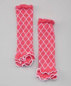 Look at this #zulilyfind! Hot Pink Lattice Waverly Ruffle Leg Warmers #zulilyfinds
