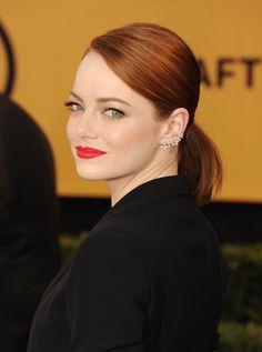 For red hair  Burgundy lowlights add depth to Emma's signature fiery shade. Getty  - Redbook.com