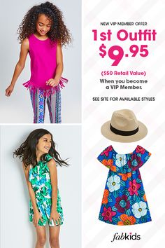 New Outfits are in! Get super cute styles for girls and boys at prices you'll love. Become a FabKids VIP Member today to get great deals like our 1st Outfit for $9.95 Offer. Limited time only, see site for select styles. New Outfits, Kids Outfits, Cool Outfits, Ladies Fashion, Womens Fashion, Natural Cures, Vip, Little Girls, How To Become