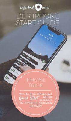 Besitzt du bereits ein anderes Gerät auf dem iOS 11 läuft? Gut, denn dann kannst du dein iPhone mit Quick Start sogar noch schneller in Betrieb nehmen. Alles was du dazu tun musst: Dein refurbed iPhone einschalten und an das andere Gerät halten. Auf deinem refurbed iPhone wird automatisch der Schnellstart-Bildschirm angezeigt. Folge einfach den Anweisungen auf dem Bildschirm und in ein paar Minuten ist dein iPhone fertig konfiguriert. Iphone, Tricks, Ios, Monitor, Couple, Simple