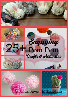 Check out all these FUN ideas and crafts to make with simple pom poms. They will keep your children busy!