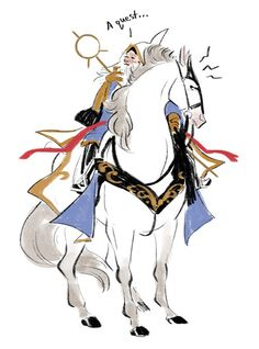 """""""Ezalor, Keeper Of The LIght is the horse, the old guy is just some old guy who tagged along"""" every hero is the best hero Fantasy Drawings, Horse Drawings, Fantasy Art, Character Illustration, Illustration Art, Illustrations, Character Art, Character Design, Drawing Expressions"""