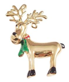 Reindeer Pin Brooch Red Green Scarf Goldtone Metal Christmas Holiday  #nobrand