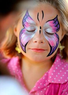 Butterfly face painting is probably the most requested painted face. Site displays hundreds of face painting ideas as well as dozens of faces painted with butterflies. Girl Face Painting, Painting For Kids, Body Painting, Painting Art, Butterfly Face Paint, Butterfly Makeup, Butterfly Party, Butterfly Painting, Pink Butterfly