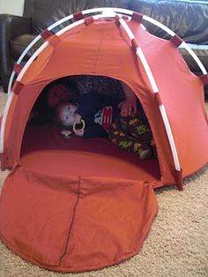 a tent made out of dollar store hoola hoops + 1 sheet.