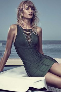 791fd419e1ae Herve Leger Dark Green Lace Scallop Metal Eyelets Dress New Dress