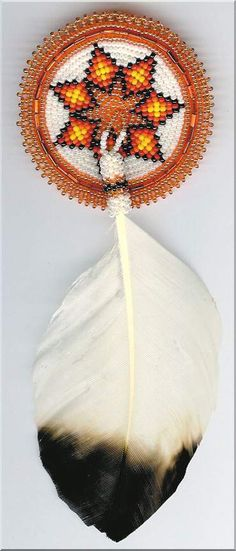Orange Barrette With feather