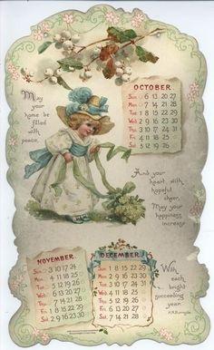 LITTLE LOVES CALENDAR FOR 1901. Vintage Diy, Vintage Labels, Vintage Ephemera, Calendar Girls, Calendar Pages, Calendar Templates, Vintage Pictures, Vintage Images, Calendar Pictures