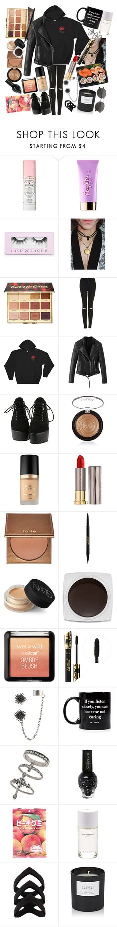 """""""I fell asleep last Winter, woke up and it was August. Not much has changed, yeah, I still feel the same but I'm slowly making progress."""" by thelyricsmatter ❤ liked on Polyvore featuring Too Faced Cosmetics, tarte, Boohoo, Topshop, Laura Geller, Urban Decay, NARS Cosmetics, NYX, Hot Topic and Jac Vanek"""