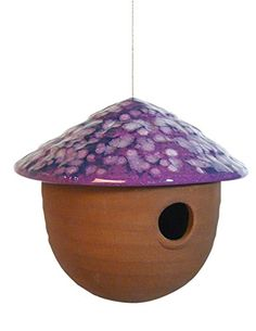Special Offers - American Made Hanging Mushroom-Top Birdhouse Durable Stoneware with Steel Cable (Purple) - In stock & Free Shipping. You can save more money! Check It (August 13 2016 at 03:53PM) >> http://birdhouseusa.net/american-made-hanging-mushroom-top-birdhouse-durable-stoneware-with-steel-cable-purple/