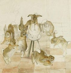 """A rare unfinished version of a scene depicting rabbits dancing at a christmas party, one of a series of six that Potter created in 1892, a year before her letter to Noel mentioning the characters of """"Flopsy, Mopsy, Cottontail – and Peter"""" - See more at: http://publicdomainreview.org/2014/07/23/the-tale-of-beatrix-potter/#sthash.gPdY95NY.dpuf by Public Domain Review, via Flickr"""