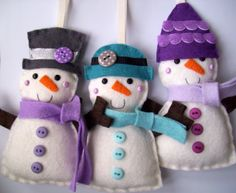 These Snowmen are for a special order for my Favourite Christmas Customer (you may remember the fabulous Christmas Tree post ?) It was espe. Felt Snowman, Snowman Crafts, Christmas Projects, Felt Crafts, Holiday Crafts, Felt Christmas Decorations, Felt Christmas Ornaments, Snowman Ornaments, Christmas Makes