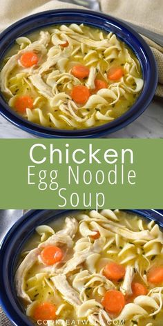This chicken egg noodle soup is comfort food at its best. Forget the canned stuff, if you have a little time on your hands make your own delicious chicken soup. It's easy, and doesn't take all that long. You'll be happy you did. Chicken Egg Noodle Soup, Chicken Meatball Soup, Chicken Eggs, Recipes For Soups And Stews, Soup Recipes, Healthy Recipes, Foods For Bloating, Cooking For Beginners, Easy Family Dinners