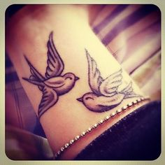 Two swallows tattoo on the wrist. | cute-tattoo