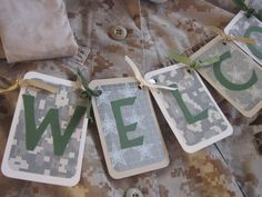 Welcome Home Military Digital Camouflage Banner by KeekersCrafts, $18.00