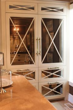 Aged Mirror inserts in refrigerator reflecting into room-Formal but Fantastic Look! K. Romancing the Home