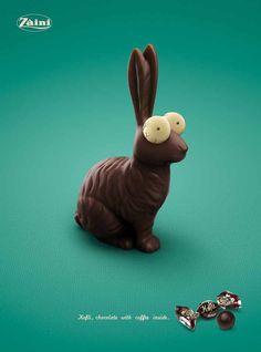 """Kofli, chocolate with coffe inside"" | Agence : Leo Burnett, Milan, Italie, pour les chocolats au café de la marque Zaini (2009)"