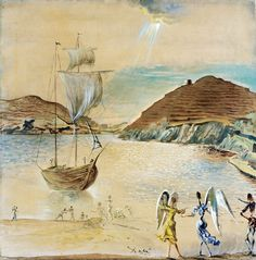 """Dali Salvador View Port Ligata Two Angels And Fishermen Private Collection 1950 (from <a href=""""http://www.oldpainters.org/picture.php?/32762/category/338"""">serra</a>)"""