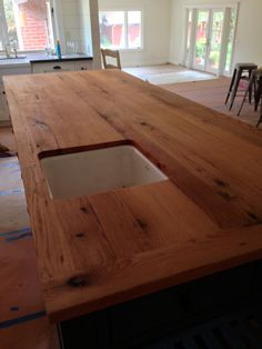 In counter sink and great countertop! Home, House Styles, Sweet Home, Home Crafts, Furniture, Wood Furniture, Kitchen Island Countertop, Oak Kitchen, Reclaimed Wood Furniture