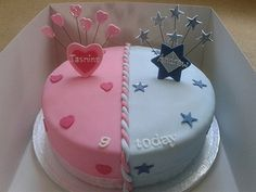 Joint boy and girl birthday cake. Perfect for Ali and Davi's joint birthday! Half Birthday Cakes, Unique Birthday Cakes, Novelty Birthday Cakes, Girl Birthday, Birthday Cake For Twins, Cake Designs For Kids, Twins Cake, Cake Name, Birthday Cake Decorating