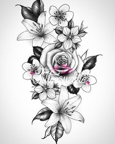 Flower Tattoo Drawings, Tattoo Design Drawings, Floral Tattoo Design, Butterfly Tattoo Designs, Mandala Tattoo Sleeve, Sleeve Tattoos, Rose Tattoos, Flower Tattoos, Clock And Rose Tattoo