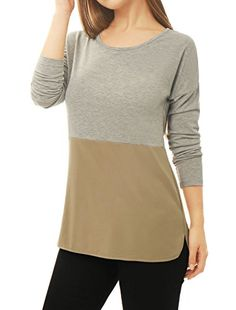 Special Offer: $12.67 amazon.com • With a cool color block and panel design , this tunic top is made for your laid-back weekends. It is complete with a round neckline, a high-low hem and long sleeves with dropped shoulders.• Body size chart shows fitting size, please check your measurements...