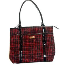 Tweed Plaid Shoulder/Tote Bag Zippered GUC, front snap slip pocket. Zippered main compartment. Silver thread with black and red. Patent leather buckle handles, patent trimming and bottom. Some wear on the fabric, see pic. 11 X 15 X 4 inches, 9 in. Shoulder drop. Nine & Co Bags Totes
