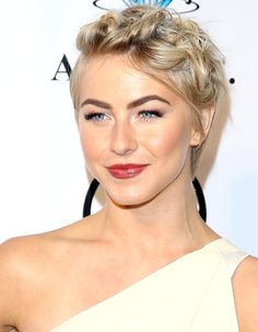 Braids aren't just for long hair, as seen with Julianne Hough's pixie braided style. #hairstyles #shorthairstyles #braids