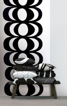 Found it at AllModern - Marimekko III Kaivo Wall Mural Black And White Design, Black White, Black Bolt, Marimekko Wallpaper, Marimekko Fabric, Or Noir, Photocollage, Wallpaper Online, Nordic Design