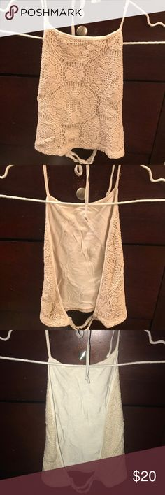 Brandy Melville crochet halter top cream Brandy Melville crochet halter top cream Brandy Melville Tops