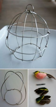CRAFTS :: DIY Wire Birdcage Tutorial :: This could also be used as a potted plant cloche for something like thyme or baby's tears. Wire Hanger Crafts, Wire Hangers, Wire Crafts, Metal Crafts, Diy And Crafts, Arts And Crafts, Wire Tutorials, Bird Cages, Wire Baskets