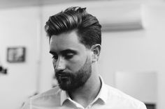 Thick Scissor Cut Hair With a Beard (Part Side)