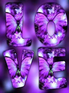 By Artist Unknown. Purple Love, All Things Purple, Purple Rain, Shades Of Purple, Purple Butterfly, Butterfly Art, Butterflies, Beautiful Love, Beautiful Flowers