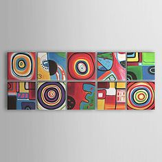 Oil Paintings Set of 10 Modern Abstract Color Cirles  Hand-painted Canvas Ready to Hang – EUR € 111.14