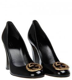Gucci Black Vernice Leather High Heel Pumps from www.profilefashion.com
