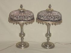 """DECO PAIR BRONZE BOUDOIR TABLE LAMPS RED CRYSTAL CUT SHADES ELECTRIFIED 13.50"""""""