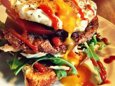 Coleslaw and Beef sandwich with runny Egg and Sriracha sauce...