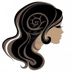 Decorativo retrato de mujer con pelo largo