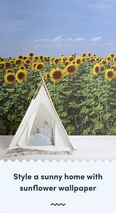 Invite the beauty of a lavish field of flowers under the summer sky to your space with this sunflower garden wallpaper. Sunflower Garden, Sunflower Design, Sunflower Pattern, Yellow Sunflower, Sunrise Wallpaper, Sunflower Wallpaper, Mobile Wallpaper, Wallpaper Murals, Summer Sky
