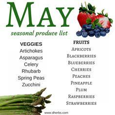 May Seasonal Produce List In Season Produce, Fruit In Season, Fruit And Veg, Fruits And Veggies, Vegetables, Fresh Fruit, Healthy Snacks, Healthy Recipes, Eating Healthy
