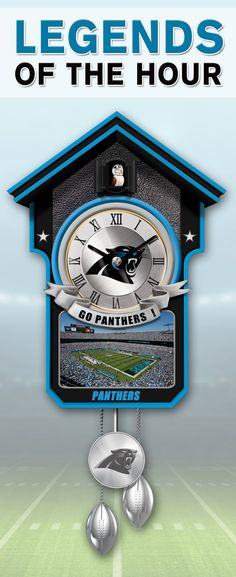 Your team pride takes a timeless twist with this Carolina Panthers cuckoo clock. This NFL-licensed wall clock features a cuckoo bird with a Panthers helmet that arrives with a cheerful chirp every hour. Limited edition of only 10,000!