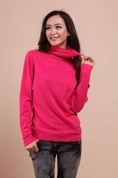 Fashion Women Cashmere Sweater Autumn Winter Knitted Wool Woman Turtleneck Pierced Pullovers